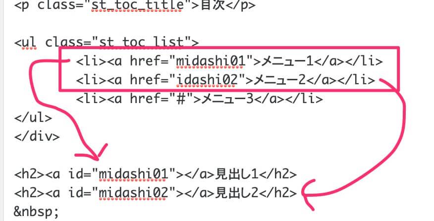 『Hタグ』にidを追加して<li>タグのhref属性の値と連携